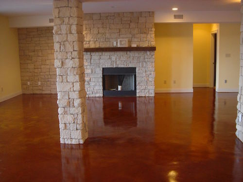 red tone stained concrete living room